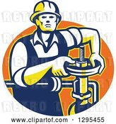 Vector Clip Art of Retro Male Pipe Fitter Plumber Turning a Valve in an Orange Oval by Patrimonio