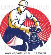 Vector Clip Art of Retro Male Pipe Fitter Plumber Turning a Valve in an Oval of Red Rays by Patrimonio