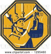 Vector Clip Art of Retro Male Pipe Fitter Plumber Working in a Yellow and Orange Octagon by Patrimonio