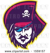 Vector Clip Art of Retro Male Pirate Face with an Eye Patch by Patrimonio