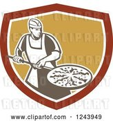 Vector Clip Art of Retro Male Pizzeria Chef with a Pie on a Pan in a Shield by Patrimonio