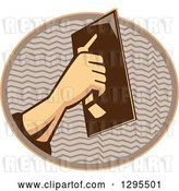 Vector Clip Art of Retro Male Plasterer Hand Working in a Brown and Orange Oval by Patrimonio
