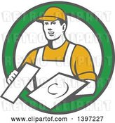 Vector Clip Art of Retro Male Plasterer Holding Trowels in a Green and White Circle by Patrimonio