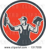 Vector Clip Art of Retro Male Plasterer Holding Trowels in a Navy Blue, White and Red Circle by Patrimonio