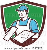 Vector Clip Art of Retro Male Plasterer Holding Trowels in a Shield by Patrimonio