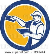 Vector Clip Art of Retro Male Plasterer Worker in a Circle by Patrimonio