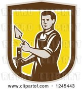 Vector Clip Art of Retro Male Plasterer Worker in a Shield by Patrimonio