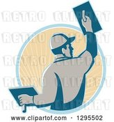 Vector Clip Art of Retro Male Plasterer Working and Emerging from a Blue and Tan Sunshine Circle by Patrimonio