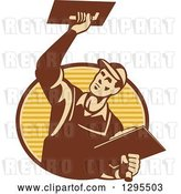 Vector Clip Art of Retro Male Plasterer Working and Emerging from a Brown and Yellow Oval by Patrimonio