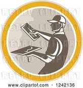 Vector Clip Art of Retro Male Plasterer Working in a Circle by Patrimonio
