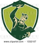 Vector Clip Art of Retro Male Plasterer Working with Trowels in a Green and White Shield by Patrimonio