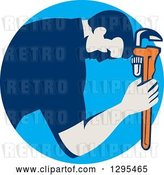 Vector Clip Art of Retro Male Plumber Bowing and Holding a Monkey Wrench to His Head in a Blue Circle by Patrimonio