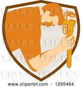Vector Clip Art of Retro Male Plumber Bowing and Holding a Monkey Wrench to His Head in a Shield by Patrimonio