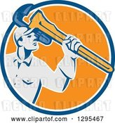 Vector Clip Art of Retro Male Plumber Holding a Giant Monkey Wrench in a Blue Orange and White Circle by Patrimonio