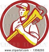 Vector Clip Art of Retro Male Plumber Holding a Giant Monkey Wrench over His Shoulder in a Red White and Taupe Circle by Patrimonio