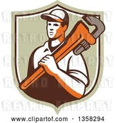 Vector Clip Art of Retro Male Plumber Holding a Giant Monkey Wrench over His Shoulder in a Shield by Patrimonio