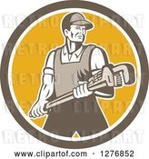 Vector Clip Art of Retro Male Plumber Holding a Large Monkey Wrench in a Brown White and Yellow Circle by Patrimonio