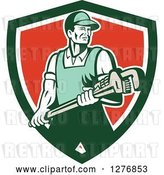 Vector Clip Art of Retro Male Plumber Holding a Large Monkey Wrench in a Green White and Red Shield by Patrimonio