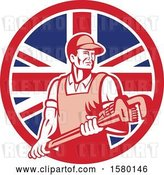 Vector Clip Art of Retro Male Plumber Holding a Large Monkey Wrench in a Union Jack Flag Circle by Patrimonio