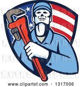 Vector Clip Art of Retro Male Plumber Holding a Monkey Wrench and Amerging from an American Flag Shield by Patrimonio