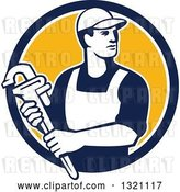Vector Clip Art of Retro Male Plumber Holding a Monkey Wrench and Looking to the Side in a Blue White and Yellow Circle by Patrimonio