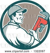 Vector Clip Art of Retro Male Plumber Holding a Monkey Wrench and Looking to the Side in a Teal White and Tan Circle by Patrimonio