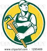 Vector Clip Art of Retro Male Plumber Holding a Monkey Wrench and Rolling up His Sleeves in a Green White and Yellow Circle by Patrimonio