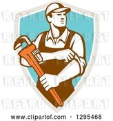 Vector Clip Art of Retro Male Plumber Holding a Monkey Wrench and Rolling up His Sleeves in a Taupe White and Turquoise Shield by Patrimonio