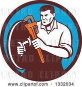 Vector Clip Art of Retro Male Plumber Holding a Monkey Wrench and Shield in a Brown and Blue Circle by Patrimonio