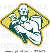 Vector Clip Art of Retro Male Plumber Holding a Monkey Wrench by a Tank in a Yellow Green and White Ray Diamond by Patrimonio