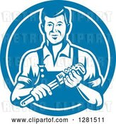Vector Clip Art of Retro Male Plumber Holding a Monkey Wrench in a Blue and White Circle by Patrimonio