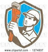 Vector Clip Art of Retro Male Plumber Holding a Monkey Wrench in a Brown White and Blue Shield by Patrimonio