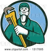 Vector Clip Art of Retro Male Plumber Holding a Monkey Wrench in a Green and Blue Circle by Patrimonio
