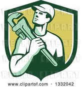 Vector Clip Art of Retro Male Plumber Holding a Monkey Wrench in a Green and White Shield by Patrimonio