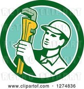Vector Clip Art of Retro Male Plumber Holding a Monkey Wrench in a Green White and Turquoise Circle by Patrimonio
