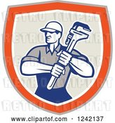 Vector Clip Art of Retro Male Plumber Holding a Monkey Wrench in a Shield by Patrimonio