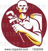 Vector Clip Art of Retro Male Plumber Holding a Monkey Wrench in Front of a Tank in a Maroon Circle by Patrimonio