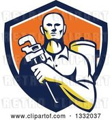Vector Clip Art of Retro Male Plumber Holding a Monkey Wrench in Front of a Tank in a Navy Blue, White and Orange Shield by Patrimonio