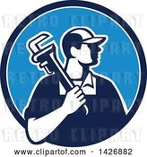 Vector Clip Art of Retro Male Plumber Holding a Monkey Wrench over His Shoulder in a Blue and White Circle by Patrimonio