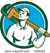 Vector Clip Art of Retro Male Plumber Holding a Monkey Wrench over His Shoulder in a Blue White and Green Circle by Patrimonio