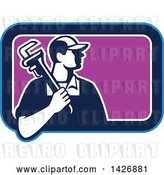 Vector Clip Art of Retro Male Plumber Holding a Monkey Wrench over His Shoulder in a Blue White and Purple Rectangle by Patrimonio