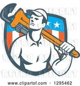Vector Clip Art of Retro Male Plumber Holding a Monkey Wrench over His Shoulder in an American Shield by Patrimonio