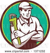 Vector Clip Art of Retro Male Plumber Holding a Monkey Wrench, with Folded Arms in a Brown and Green Circle by Patrimonio