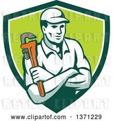 Vector Clip Art of Retro Male Plumber Holding a Monkey Wrench, with Folded Arms in a Green and White Shield by Patrimonio