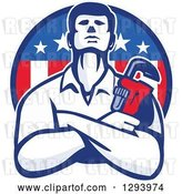 Vector Clip Art of Retro Male Plumber with Folded Arms and a Monkey Wrench Emerging from an American Circle by Patrimonio