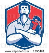 Vector Clip Art of Retro Male Plumber with Folded Arms, Holding a Monkey Wrench in a Blue White and Red Shield by Patrimonio
