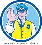 Vector Clip Art of Retro Male Police Guy Gesturing to Stop in a Blue and White Circle by Patrimonio