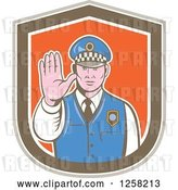 Vector Clip Art of Retro Male Police Guy Gesturing to Stop in a Brown White and Orange Shield by Patrimonio