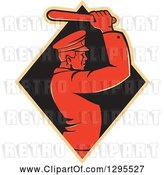 Vector Clip Art of Retro Male Police Guy Using a Baton in a Tan and Black Diamond by Patrimonio