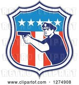 Vector Clip Art of Retro Male Police Officer Aiming a Firearm in an American Flag Shield by Patrimonio